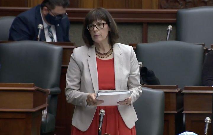 Ontario MPP Teresa Armstrong speaks in the legislature in Toronto on Oct. 28, 2020.