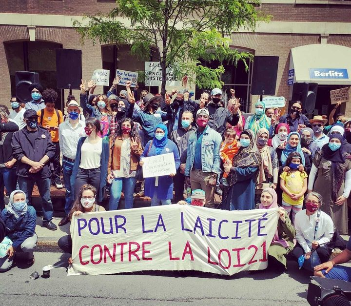 On the first anniversary of Bill 21's adoption demonstrators denounced the ban on the wearing of religious symbols by state employees in positions of coercive authority, as well as teachers in the public school system on June 14, 2020 in Montreal.