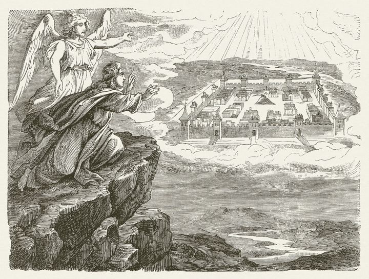 A woodcut of a drawing by the German painter Julius Schnorr von Carolsfeld illustrates a chapter from the Book of Revelation