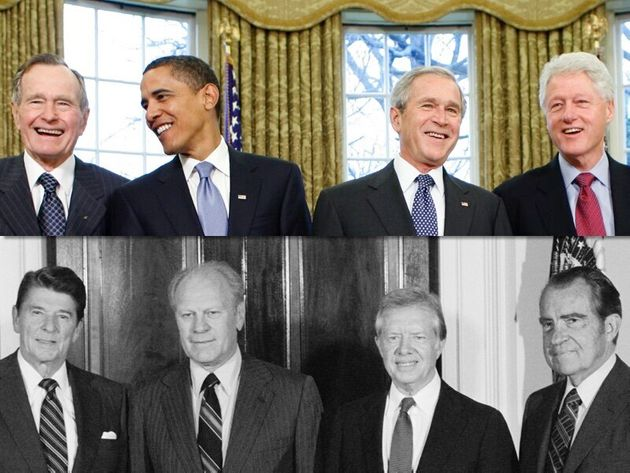 左上から時計回りにブッシュ(父)、オバマ、ブッシュ、クリントン、ニクソン、カーター、フォード、レーガン各元大統領