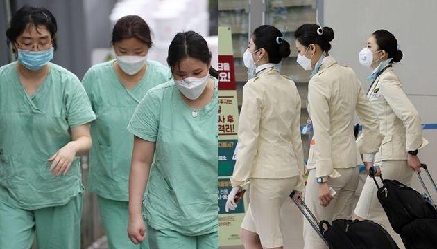 지난 3월 코로나19와 사투를 벌이는 간호사들의 실제 복장(왼쪽), 코로나19로 인해 마스크를 쓴 승무원들의