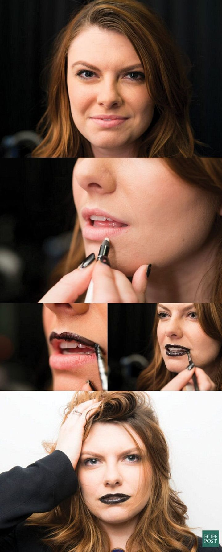 블랙 립스틱 사용 전 매트 립라이너를 바르는 모습