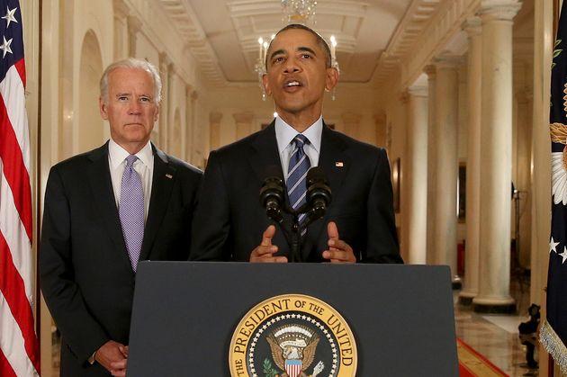 (자료사진) 2015년 7월14일 - 조 바이든 부통령과 함께 백악관 이스트룸에서 기자회견을 연 버락 오바마 대통령이 긴 협상 끝에 이란 핵합의가 타결됐다는 소식을 발표하고