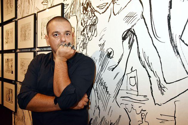 Le dessinateur et auteur de bande dessinée Joann Sfar lors de l'exposition