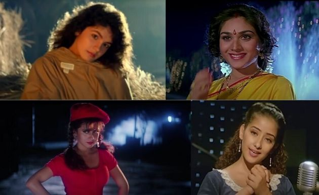 (Clockwise from top left): Pooja Bhatt in 'Dil Hai Ki Manta Nahin', Meenakshi Seshadri in 'Damini', Manisha...