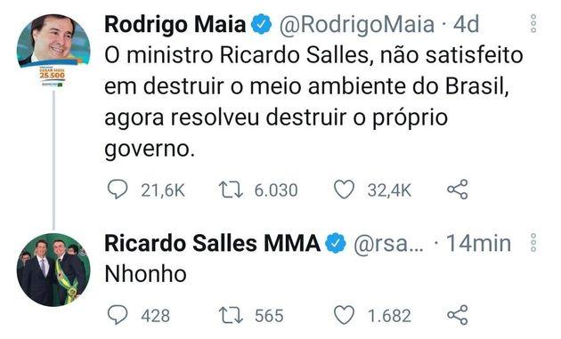 A resposta de Ricardo Salles a Rodrigo Maia — que ele nega ter sido de autoria