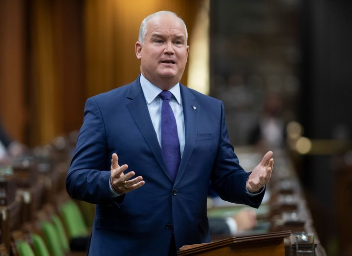Conservative Leader Erin O'Toole speaks in the House of Commons on Wednesday in Ottawa. O'Toole voted in favour of the bill, along with most Conservative MPs.