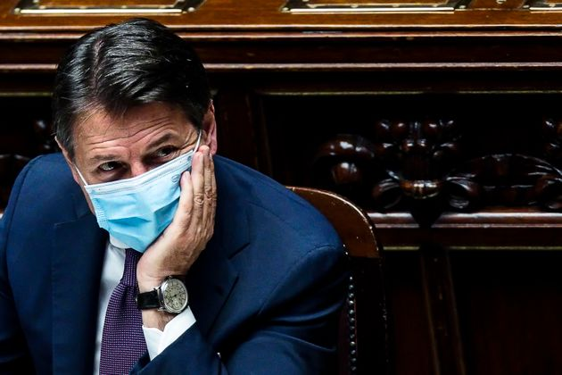 Italian Prime Minister Giuseppe Conte to the Chamber of Deputies during the urgent information on the...