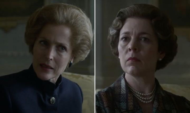 Gillian Anderson and Olivia Colman in The Crown
