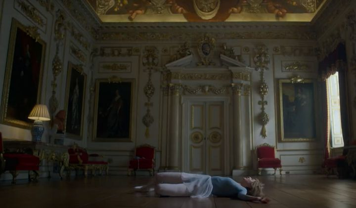 Princess Diana falls to the floor after wildly dancing in a new trailer for The Crown