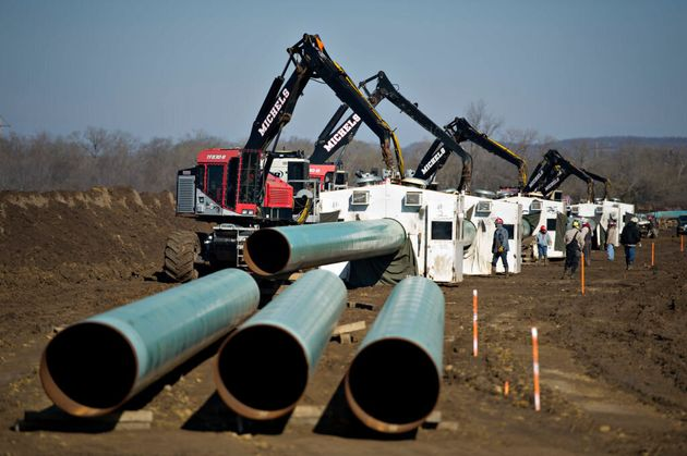 Construction on the Keystone XL pipeline is seen here in Atoka, Okla., on March 11, 2013. The pipeline...