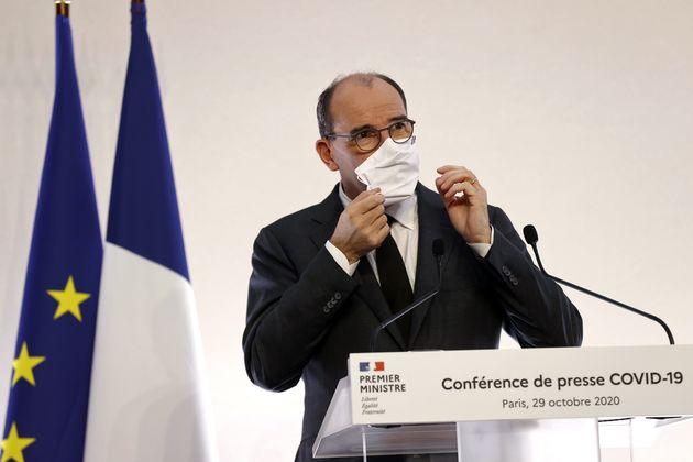 Le Premier ministre Jean Castex lors d'une conférence de presse sur le reconfinement, le 29 octobre