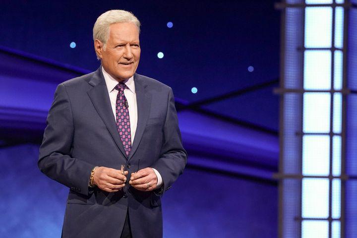 """Alex Trebek hosting """"Jeopardy."""""""