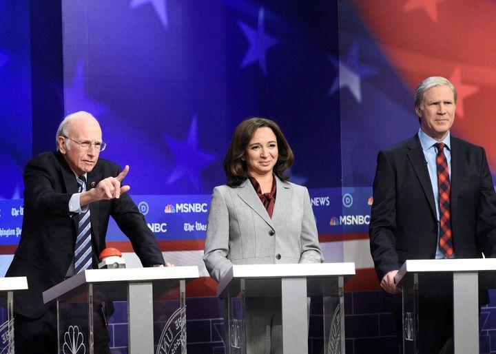 Larry David as Sen. Bernie Sanders (I-Vt.), Maya Rudolph as Sen. Kamala Harris (D-Calif.) and Will Ferrell as billionaire Tom