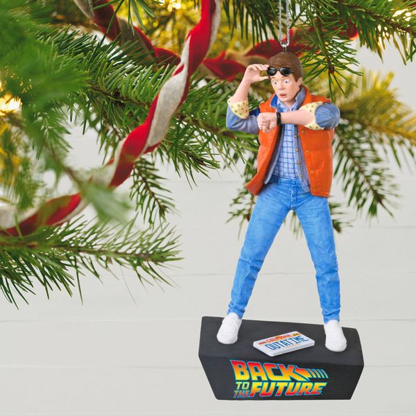 """This <a href=""""https://www.hallmark.com/ornaments/keepsake-ornaments/back-to-the-future-marty-mcfly-ornament-with-sound-1999QX"""