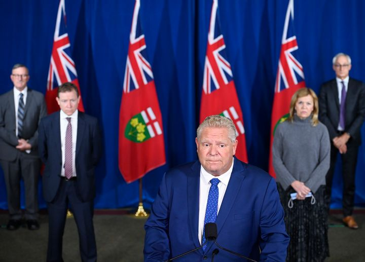 Ontario Premier Doug Ford holds a press conference with his health team at Queen's Park in Toronto on Oct. 2, 2020.