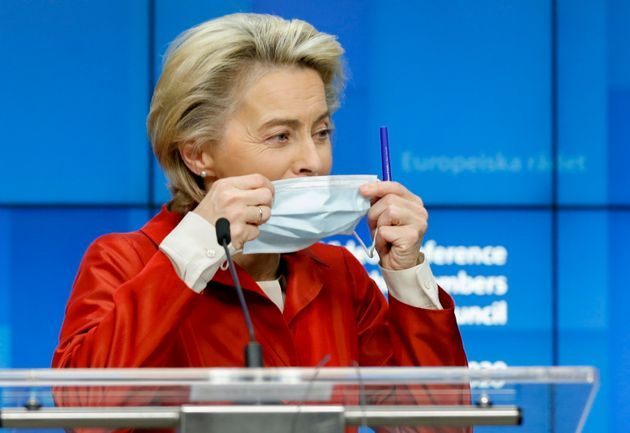 epa08784786 European Commission President Ursula Von Der Leyen gives a press briefing at the end of European...