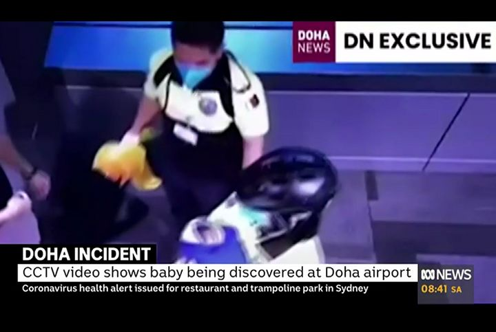 CCTV footage shows the moment the abandoned baby was found at Qatar's airport.