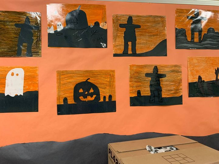 """Halloween school decorations made by kids in Pangnirtung, Nunavut, using school supplies donated from people who are part of a Facebook group called """"Help For Remote Northern Communities."""""""