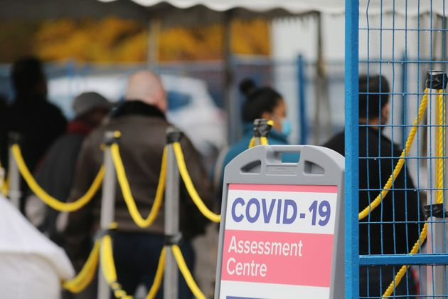 A line up at the Covid-19 Assessment Centre at Scarborough General Hospital's emergency bay in Scarborough,...