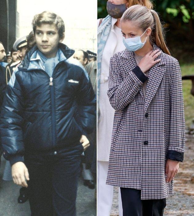 El príncipe Felipe y la princesa Leonor, en 1982 y 2020, con 14 años cada uno.
