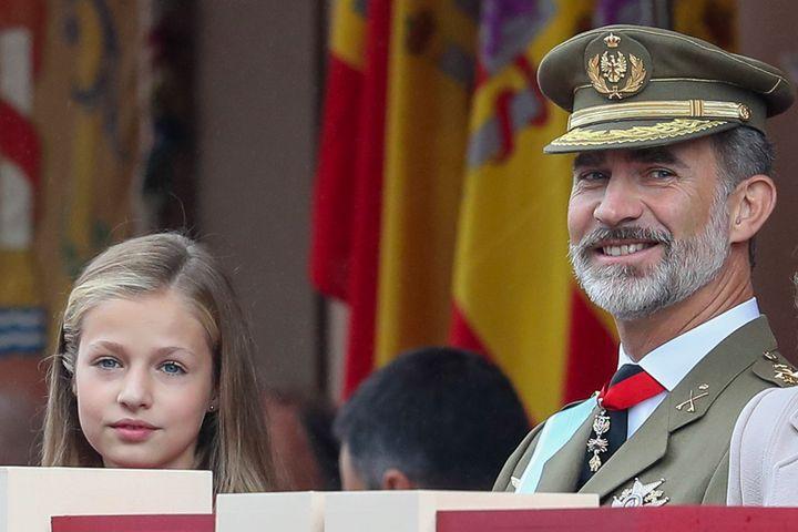 Leonor y el rey Felipe Vi el 12 de octubre de 2018.