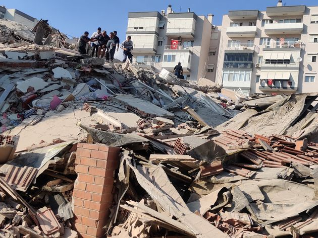 IZMIR, TURKEY - OCTOBER 30: A view of a quake damaged site after a magnitude 6.6 quake shook Turkey's...