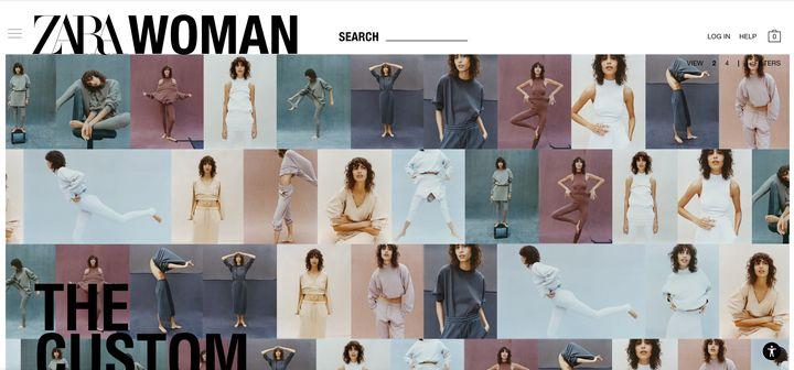 Página de inicio de Zara.