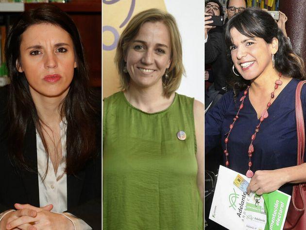 Irene Montero, Tania Sánchez y Teresa