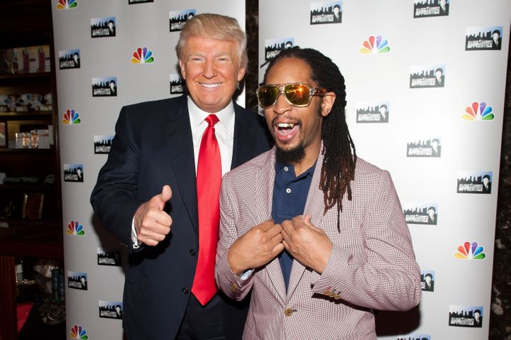 "Donald Trump and Lil Jon attend the ""All Star Celebrity Apprentice"" red carpet event in 2013."