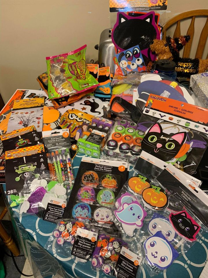 Some of the contents of the Halloween care packages.
