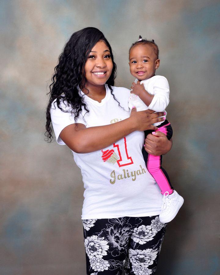 """Vasheena Lambert holding her baby girl, Jaliyah, whose birth gave her life """"new purpose."""""""