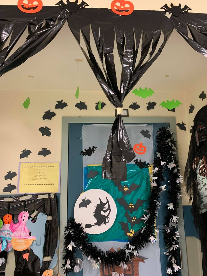 Creative uses of garbage bags for curtains made the decorations extra special.