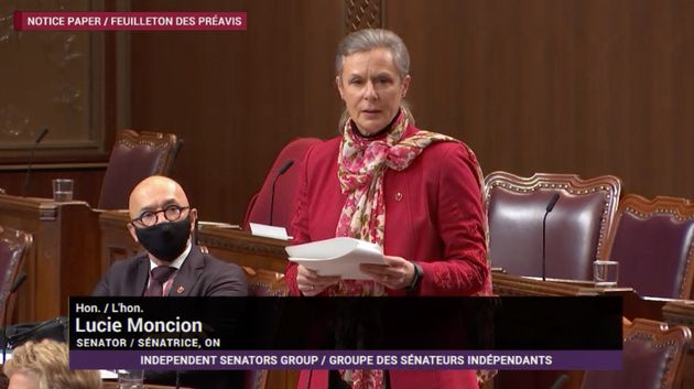 Sen. Lucie Moncion delivers a speech about a motion proposing the Senate ask the House of Commons to...