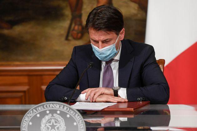 ROME, ITALY - OCTOBER 27: Italian Prime Minister Giuseppe Conte holds a press conference to present the...