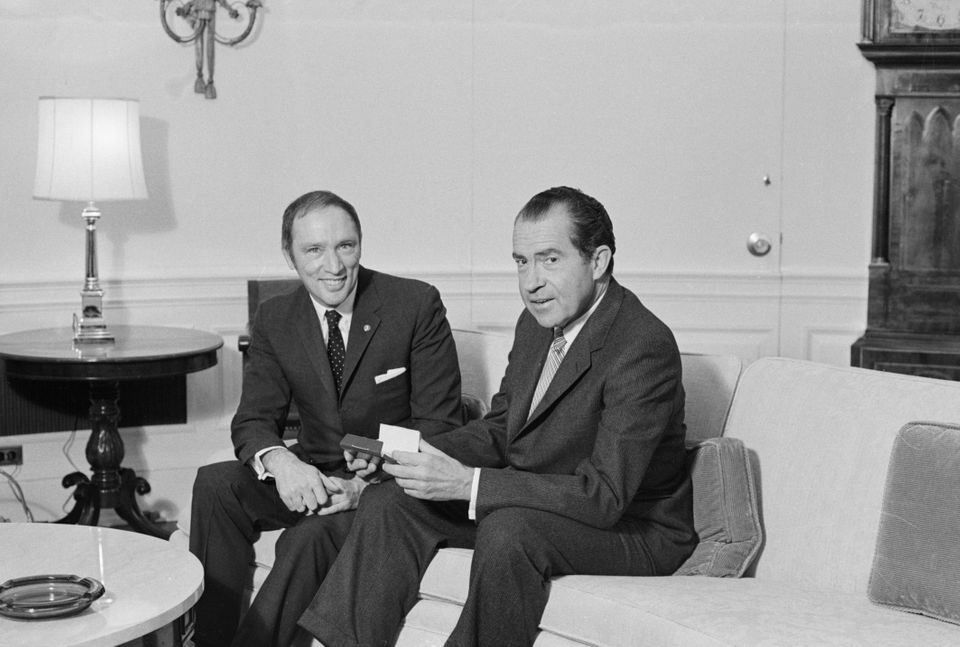Archive photo of prime minister Pierre Trudeau and U.S. president Richard Nixon posing for picture on...