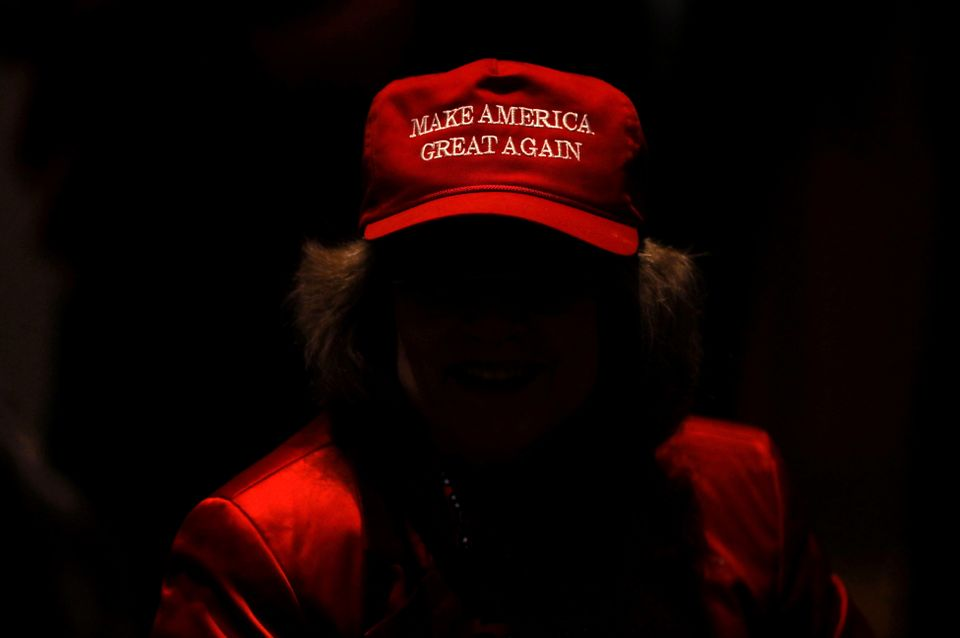 A supporter of Trump and Republican senate candidate Mike Braun attends the election night party in Indianapolis,...