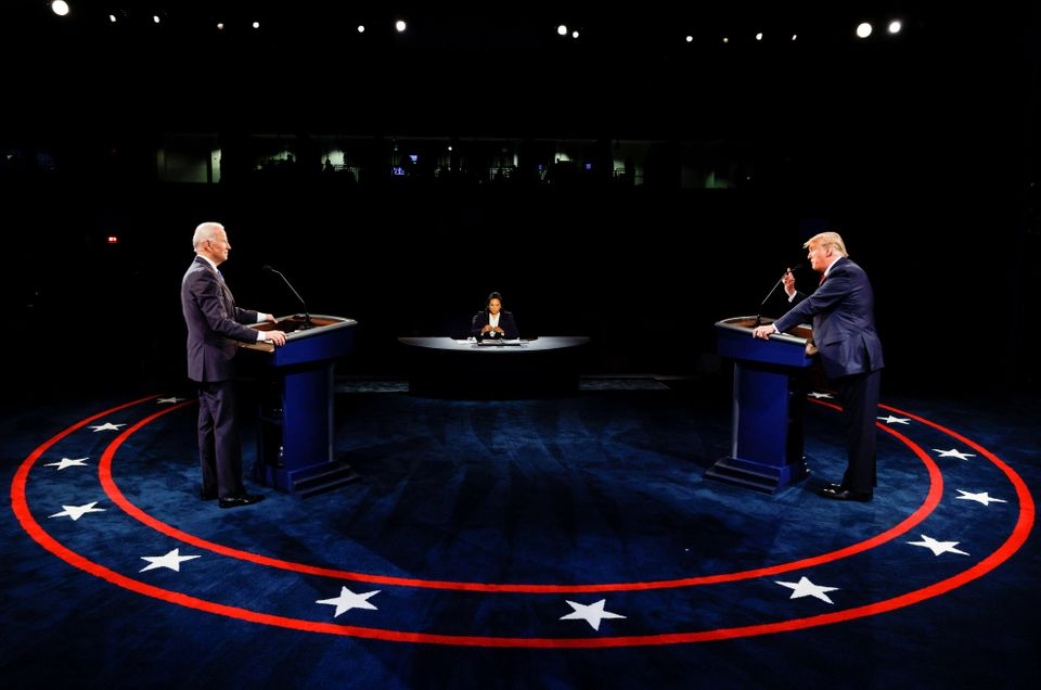 U.S. President Donald Trump speaks during the third and final presidential debate with Democratic presidential...