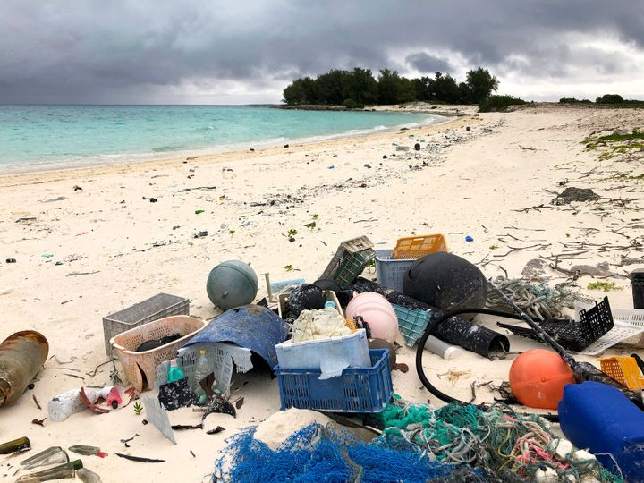 Plastic waste on the beach on Midway Atoll in the Northwestern Hawaiian Islands. Ocean plastics could double in the next 10 y