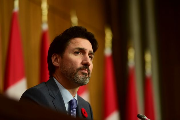 Prime Minister Justin Trudeau provides an update on the COVID-19 pandemic during a press conference in...
