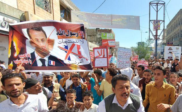Πορεία διαμαρτυρίας κατά του Μακρόν στην Υεμένη.