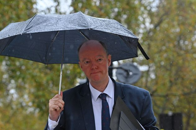 Chief Medical Officer for England Chris Whitty walks through Westminster in London on October 31,
