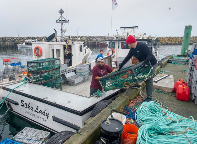 Indigenous lobster boats are geared up in Saulnierville, N.S. on Oct. 21,