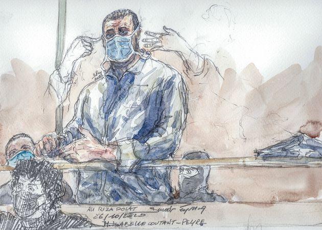 Le principal accusé du procès des attentats de janvier 2015, Ali Riza Polat, au tribunal...