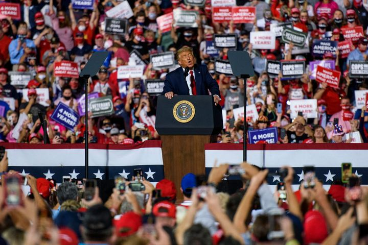 President Donald Trump addresses a crowd of several thousand rallygoers in Gastonia, North Carolina, on Oct. 21.