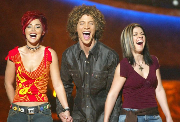 """Nikki McKibbin (from left), Justin Guarini and Kelly Clarkson on """"American Idol"""" in 2002."""