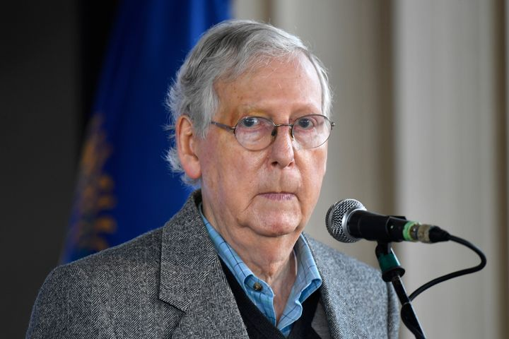 Senate Majority Leader Mitch McConnell, R-Ky., speaks to supporters during a rally in Lawrenceburg, Ky., Wednesday, Oct. 28,