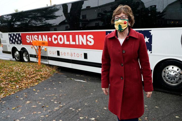 Republican Sen. Susan Collins arrives at a campaign stop Thursday, Oct. 29, 2020, in Limington, Maine. Collins is seeking ree