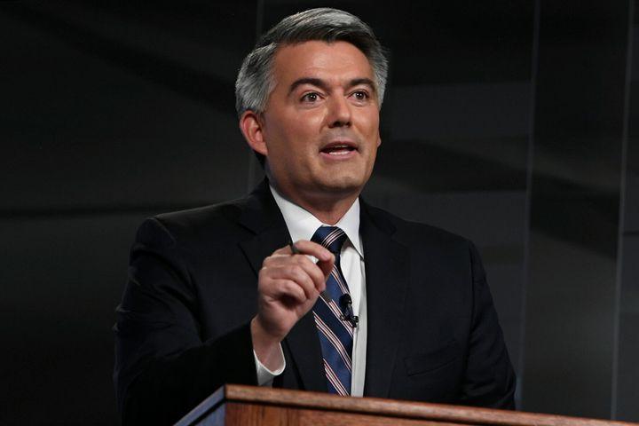 Republican U.S. Sen. Cory Gardner speaks during a debate with Democratic former Colorado Gov. John Hickenlooper, Friday, Oct.