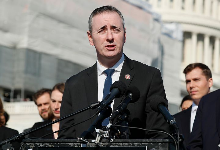 """Rep. Brian Fitzpatrick (R-Pa.),seen here speaking at a press conference for ending the use of """"forever chemicals,"""" is l"""